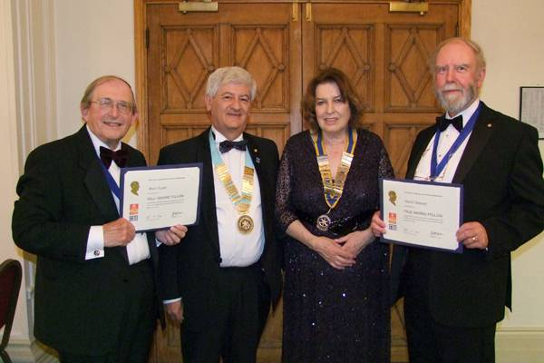 39th Annual Charter Anniversary Dinner - New Paul Harris Fellows Peter Foster and David Bennett of the Rotary Club of Horncastle with District Governor Simon Kalson and President Rose Dobbs.