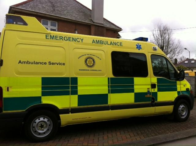 A photo of the ambulance with Wadebridge Rotary Club's Logo