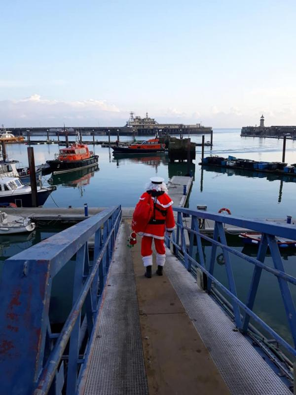 Pop-Up Santa's Christmas journey - day 8 - Santa descending to the outer harbour basin to check out his latest transport idea.