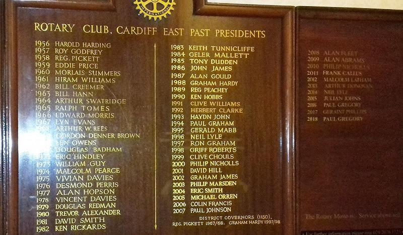Club Presidents - Record of Presidents since Club Inauguration in 1956.