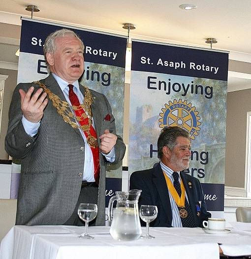 RIBI PRESIDENT PETER KING VISITS DISTRICT 1180 - RIBI President Peter King chose St Asaph Rotary Club as the venue for the first official visit of his year in office.