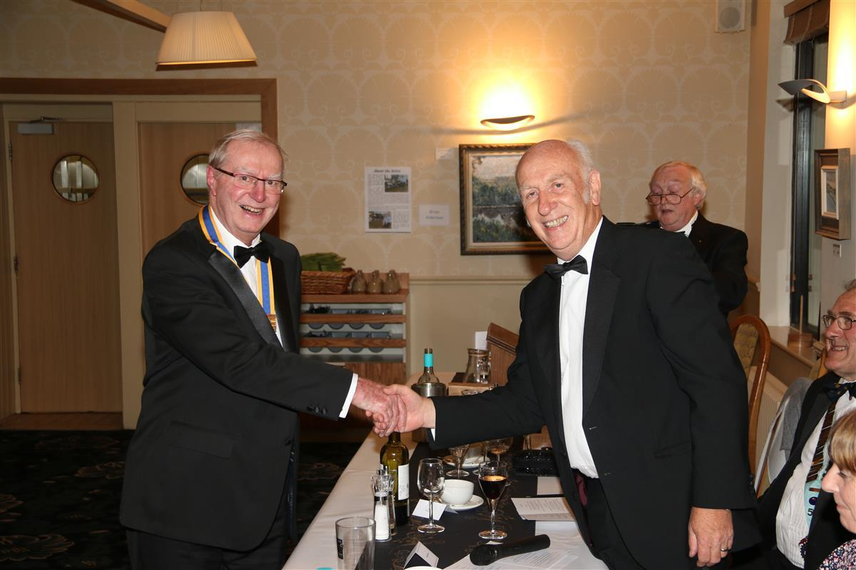 Charter and Handover 2017 - Howard Binks receives the Presidents Jewel from John Morton