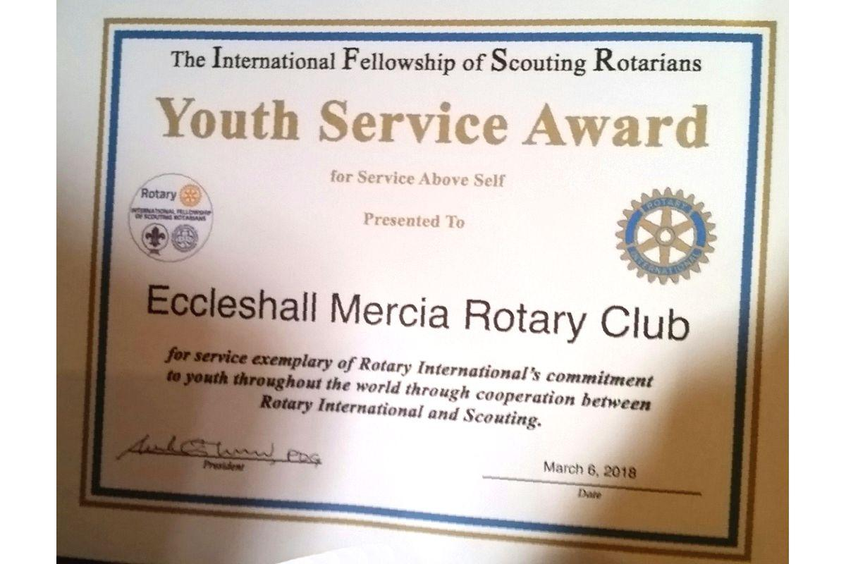 IFSR Youth Service Award by the International Fellowship of Scouting Rotarians.