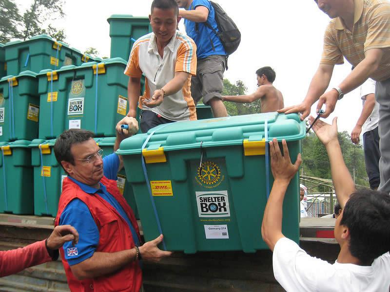Shelterboxes are distributed around the world following natural or man-made disasters.