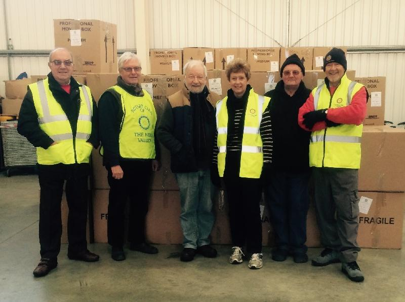 Ryde Rotary Club members with some of the Shoeboxes being transported from the Isle of Wight