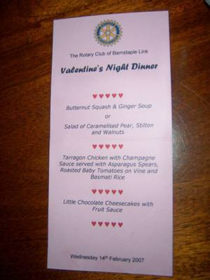 ST.VALENTINES DINNER 2007 - MENU