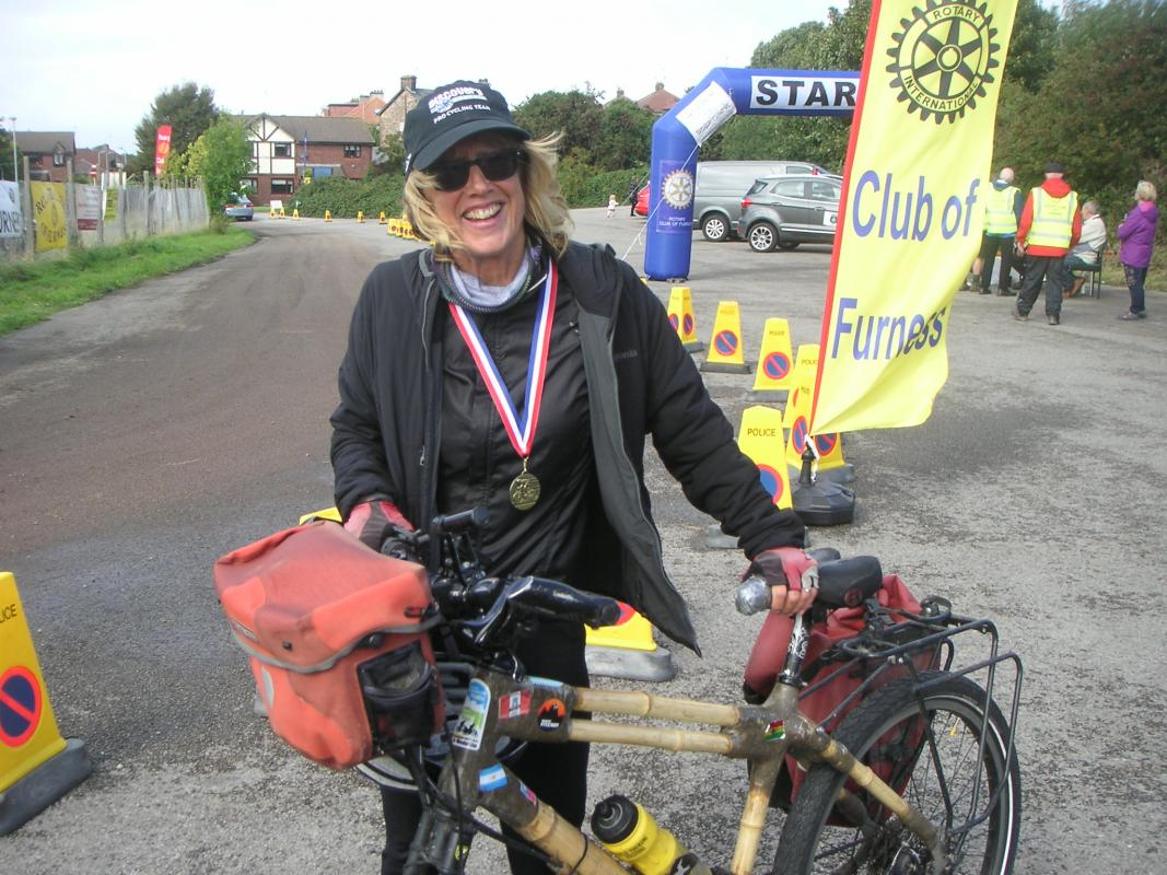Tour de Furness 2018 - Kate Rawles with her unique Bamboo Cycle which she rode the length of South America, from Colombia to Patagonia