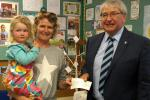 Presentation of cheque to Susan Lewis to sponsor participants' medals for their Fun Run at Kinnerley on Sunday 4th June