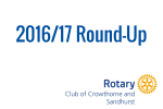Reports from our 16/17 AGM highlighted the vibrancy of the Rotary Club of Crowthorne and Sandhurst and successes achieved this year: