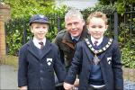 Oswestry Town Mayor Paul Milner and pupils from Bellan House