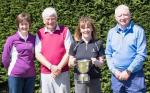 Sandy F with Frank Gordon, Tricia Chillas and Alison Davidson ( Team Rock and Reel) with the Hepting & Farrer Trophy as overall winners.