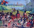 By Unknown - Ms 6 f.243 Battle of Agincourt, 1415, English with Flemish illuminations, from the 'St. Alban's Chronicle' by Thomas Walsingham (vellum), English School, (15th century) - Lambeth Palace Library, London, UK / The Bridgeman Art Library, Pu