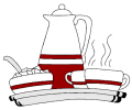 Coffee pot, cup and sugar bowl