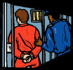 Cartoon of someone being placed in a prison cell