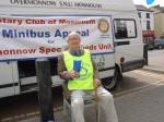 Street collection June 2007 - Gwyn Beavan shaking a tin for the Minibus appeal