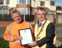 Walter Green receives his Community Award for 39 years service to our plantings