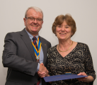 Lesley being presented with her Paul Harris Fellow