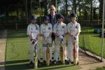 Ian Haigh, Club President with the Knockin & Kinnerley Knights U11's (L-R) Jack Burston, Jack Tinney, Michael Carter and Ryan Darlington