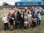 The main organiser of the Junior RTB event, Rtn John Williams with the medal winners at the end of the competition.