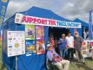 The gazebo at the Melplash Show showing off the new Trick Factory banner. Note all the youngsters inside the gazebo.