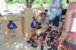 Wheelchairs in Mozambique - A new wheel chair for a youngster with no feet