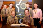 "President Nick Rawlings with Scouts from the Forth Valley District. The Bridge of Allan and Dunblane Rotary Club made a contribution of £250 towards the Scouts""™ project in Namibia. In June of next year the Scouts will help in the building of a kinde"