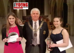 Abby and Eliza, winners of Young Singer and Musician, with DG Alan Clark
