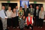 The representatives of the organisations receiving cheques on the night with the new President (Andrew Walsh-Waring), the past president (Ken Fricker) and the Mayor of Frome (Cllr Toby Eliot)