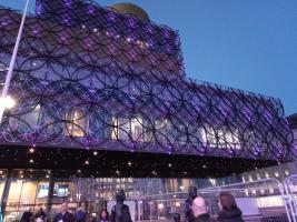 Library of Birmingham illuminated in purple for World Polio Day 2019