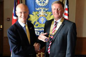 Past President Tim Heilbronn hands over the chain of office to incoming President Robert Dunn