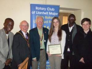 Mayor and young visitors to Rotary Club