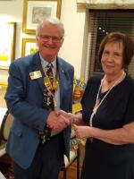 Pres Peter Nightingale with new member Patricia Shadforth