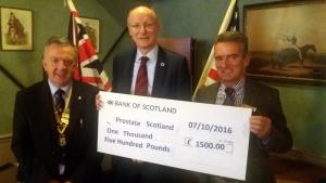 Cheque Presentation to Prostate Scotland