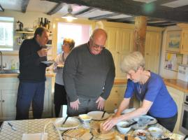 Frugal lunch at Rotarian Clive's home