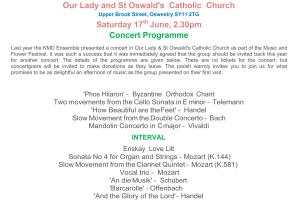 Concert by the KMD Ensemble - Our Lady and St Oswald's Church