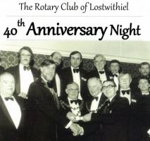 A sumptuous dinner was held in the Fowey Valley Hotel on 9th February 2019 to celebrate the Rotary Club of Lostwithiel's 40th Anniversary since the club was formed and formally awarded its Rotary International Charter in 1979
