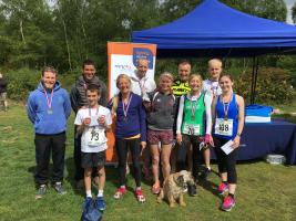 The winners of this year's Leatherhead Rotary Bluebell 10k run on Headley Heath.
