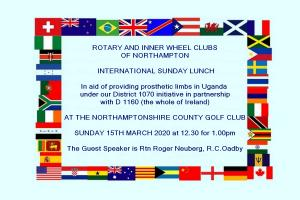 International Sunday Lunch - In aid of providing prosthetic limbs in Uganda