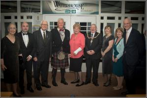 Dignitaries and Guest Speakers: Mrs Eleanor Cunningham; Rotary District Governor, Jim Ross; Rev Alex Cunningham; Club President, Colin O'Brien; Lady Annabel Goldie; Provost Wm Hendrie; Mrs Elaine Ross; Mrs Sheila Paterson; Gil Paterson MSP
