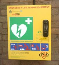 A DEFIBRILLATOR IN STONEHOUSE HIGH STREET