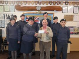 Cheque presented to ATC Hutton Squadron