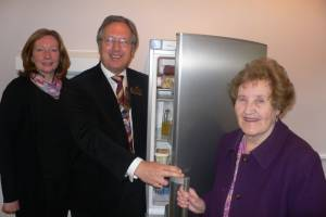 Rotary Club of Bishops's Stortford present Age Concern with a new fridge/freezer