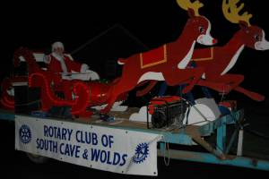 South Cave & Wolds Rotary Sleigh taking Santa round the village