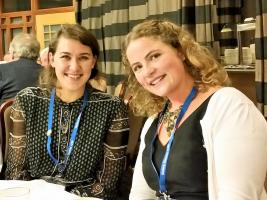 Anya Eber (right) with fellow Rotary scholar Jordan Koletic relaxing during the District 1230 Conference.