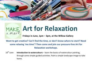 Make a Mark Art for Relaxation Workshops Commence - 1.00pm