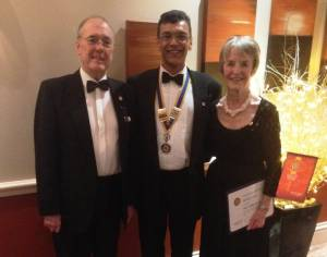 Barbara West with husband, Gordon West, and President Hemant Amin
