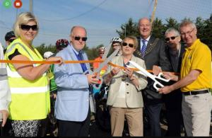 RIBI President Denis Spiller prepares to cut the ribbon with 1240 DG Nick Sillitoe, Southend Mayor Fay Evans, Thorpe Bay President Amanda Porter, Rochford Vice Chairman David Merrick and Foulness Parish Councellors. Picture Courtesy of Evening Echo