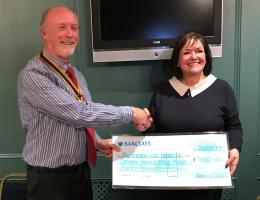 Presentation of £750 cheque to Butterwick Hospice