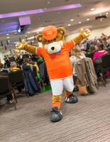 Blackpool Football Club mascot, Bloomfield Bear joined in the fun.