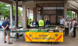 Charity Bookstall outside Waitrose main entrance on Nailsea High Street